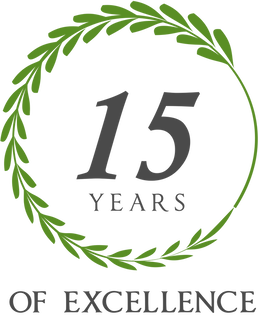 15 years of excellence emblem to show our dedication to customer service.